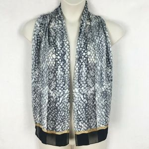 Accessories - Black Gray Gold SILK Italy Accent Scarf